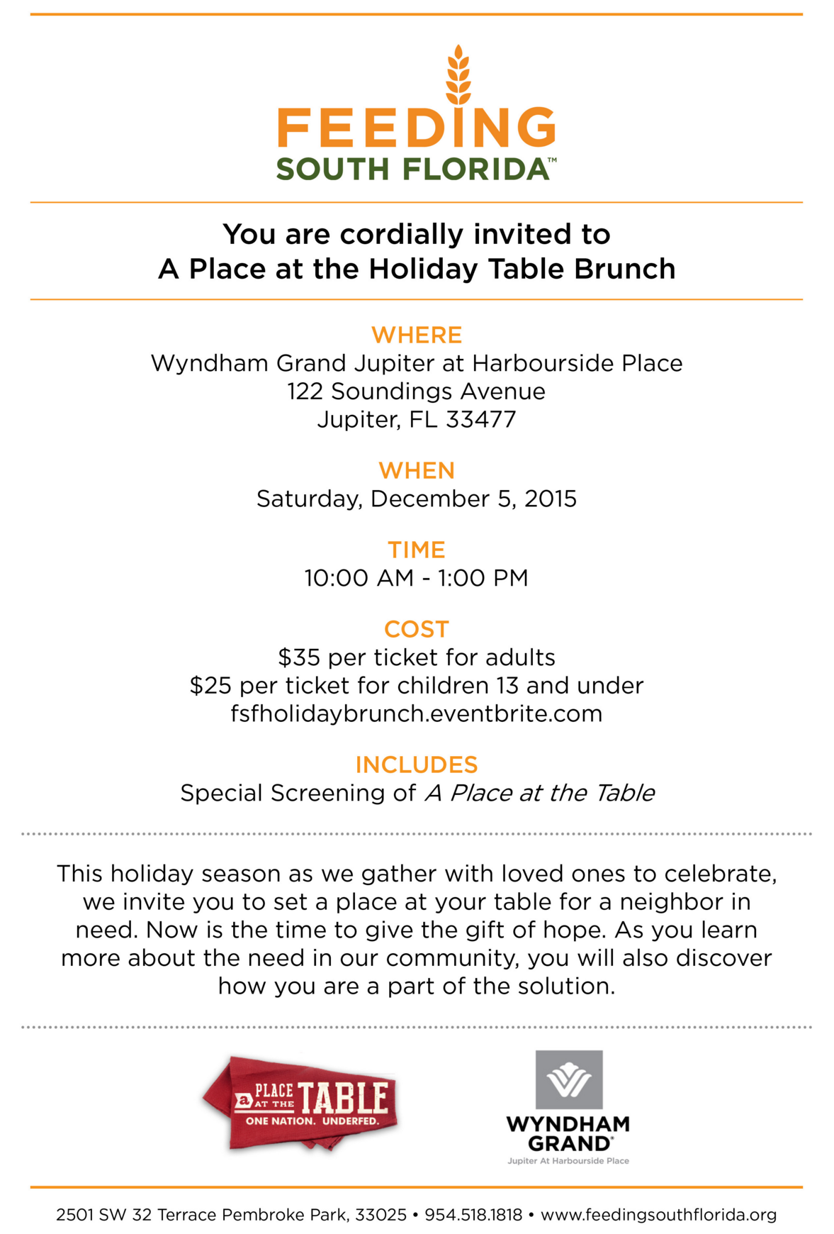 A Place at the Table Invitation – Feeding South Florida
