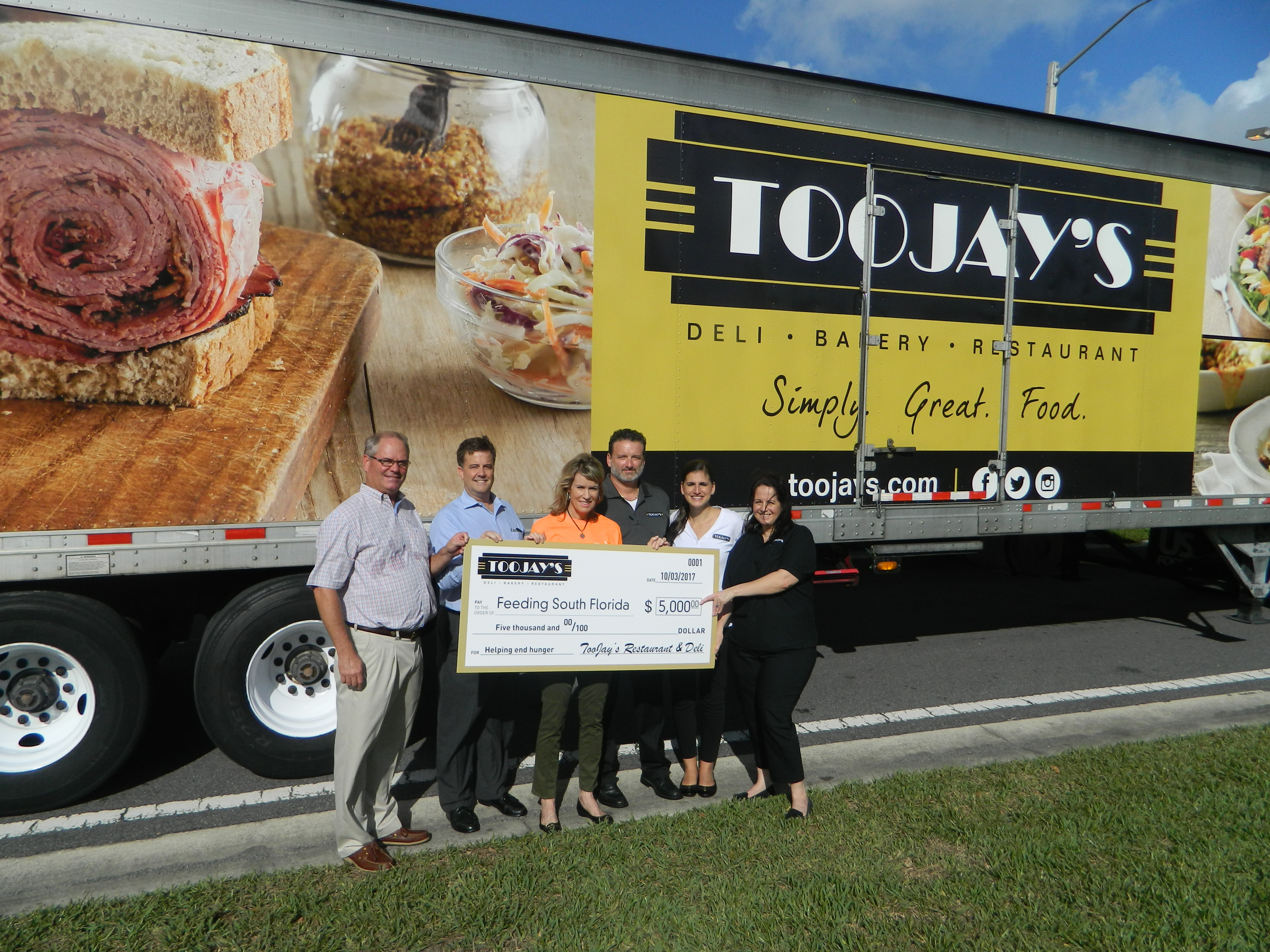 TooJay's Donates 4,000 Pounds of Turkey Breast and $5,000 to Feeding South Florida