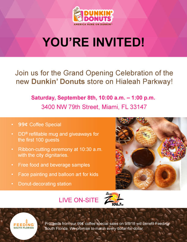 Grand opening new Dunkin' Donuts store