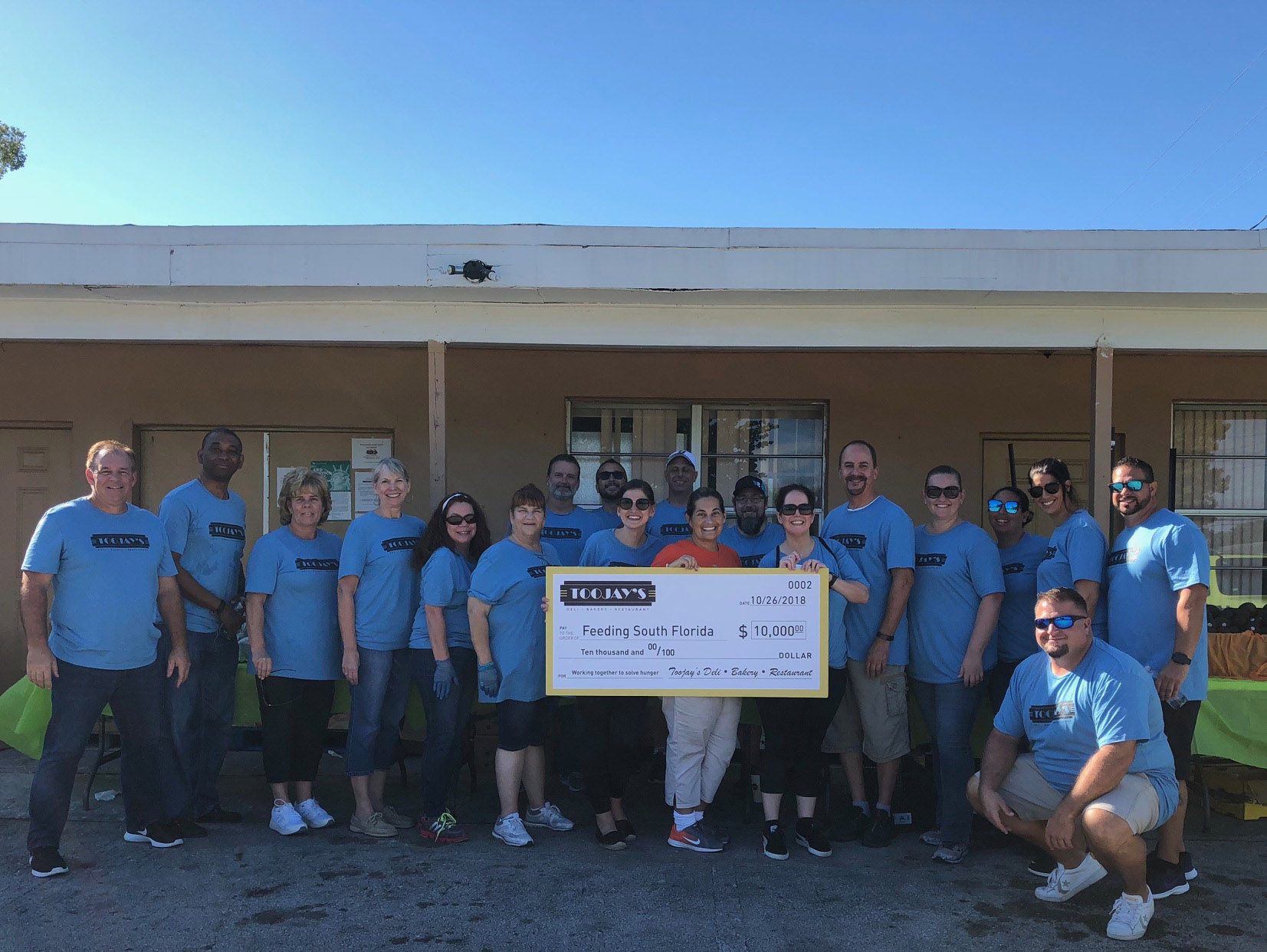 TooJay's Donates $10,000 to Feeding South Florida