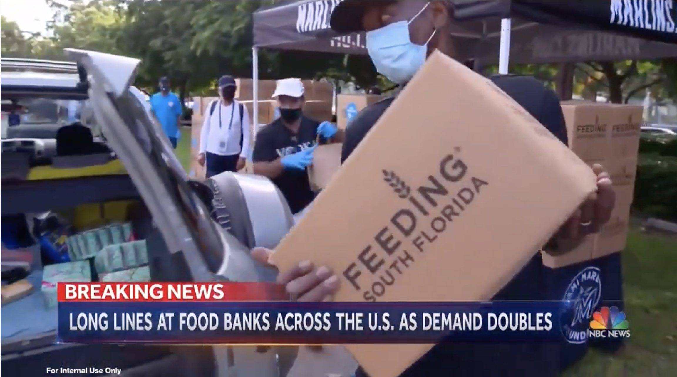 Long Lines At Food Banks As Demand Doubles