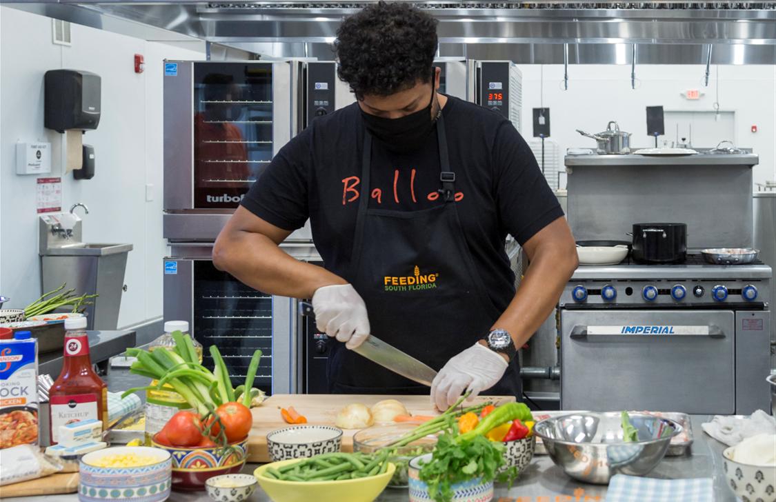 Chef Timon Balloo at Feeding South Florida's Community Kitchen